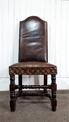 Antique style leather high back desk / hall chair
