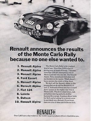 1973 Advertisement - RENAULT ALPINE - MONTE CARLO RALLY Results