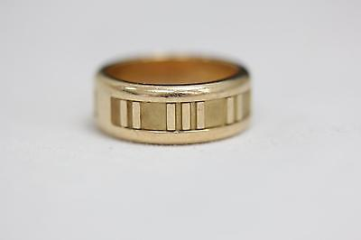 Tiffany & Co. Italy 18K Yellow Gold Atlas Roman Numeral 7mm Band Ring - ~Size 5