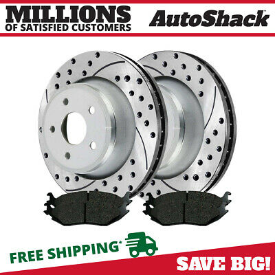 8 Front Rear Drilled Slotted Rotors 4 Ceramic Pad For 02-2004 Dodge Ram 1500