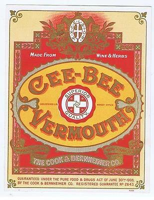 Cee-Bee vermouth, wine and herbs, Cook Bernheimer NY Bottle label #150
