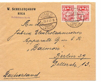 LATVIA 1923 COVER USED 2 x 10s