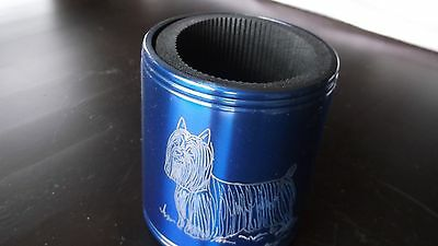 Silky Terrier- Eye catching Stainless Can Cooler hand engraved by Ingrid Jonsson