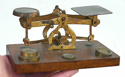 Antique Vintage Brass & Mahogany Postal LETTER SCALES w Weights