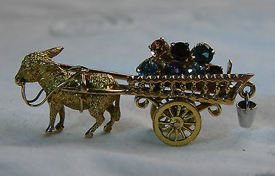 Beautiful Alabaster & Wilson 9ct Gold Brooch in Form of Donkey and Cart