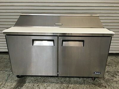 """60"""" 2 Door Refrigerated Sandwich Salad Prep Table Atosa MSF8303 #6563 Commercial"""