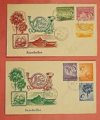 2 Fdc Covers 1954 Seychelles Qeii Pictorials