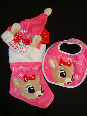 Rudolph  Red Nosed Reindeer  Pink Baby's 1St Christmas Stocking, Hat & Bib Nwts