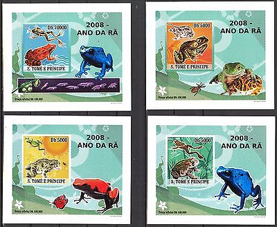 {P14} Sao Tome & Principe 2008 Frogs 4 S/S DeLuxe MNH**