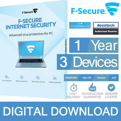 F-Secure Internet Security 2017 (1Year/3PCs) Genuine Authentic License Windows