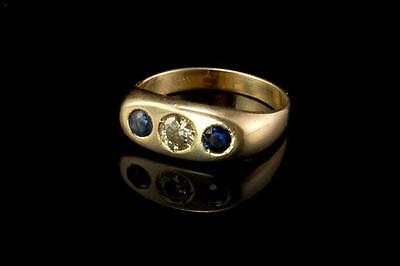 Antique Art Deco Diamond Sapphire 14K Gold Band Ring  (052117098)