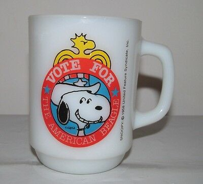 1980 SNOOPY Vote For The American Beagle Milk White Mug Cup EUC