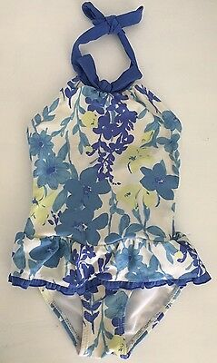 JANIE AND JACK Blue White Floral Halter Neck One Piece Bathing Suit Swimsuit 2T
