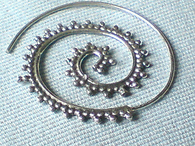 SINGLE SOLID STERLING SILVER EARRING with FILIGREE SPIRAL DESIGN 40mm £12.95 NWT