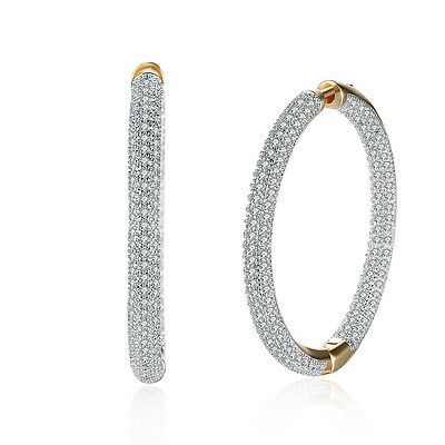 Wedding Party Jewelry Charm Noble Champagne Gold Plated Zircon Hoop Earrings