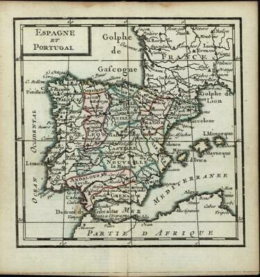 Spain Portugal Iberian Peninsula Lisbon Madrid 1770 Desnos small old antique map