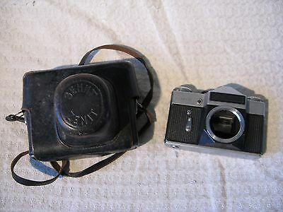 Vintage Russian Zenit E 35mm Film SLR Camera Body & Case