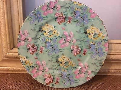 Shelley Melody Green  Chintz 7 inch dessert Plate Gold  Trim Made in England EUC