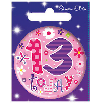 13th TEENAGER BIRTHDAY BADGE BIRTHDAY BADGE AGE 13 GIRL BIRTHDAY PARTY GIFT