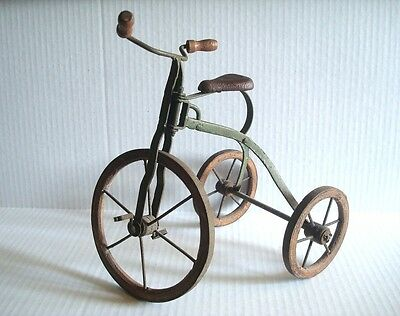 """Rustic Doll Stand Miniature Tricycle Wood Rims Metal Primitive Decor 11""""  Tall"""