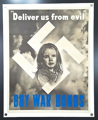 Deliver Us from Evil/Buy War Bonds (1943) – WWII Propaganda Poster **Liberty**