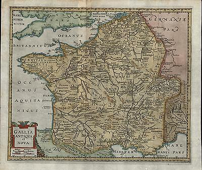 Ancient Gaul France Germany Germania 1694 Cluver old antique color map