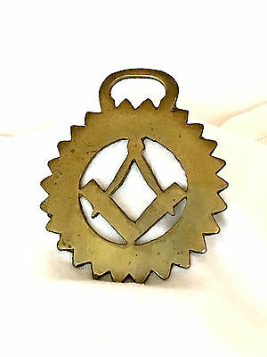 Vintage Brass Horse Harness/bridle/medallion/ornament-Masonic Square/compass 2