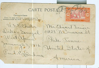 "Senegal Postcard Dakar 1916 Scott #84 used to US  ""Une Escale de Traite (pire)"""