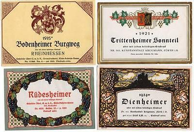 set of 4 early 20th century original antique German wine bottle labels 1920s #4