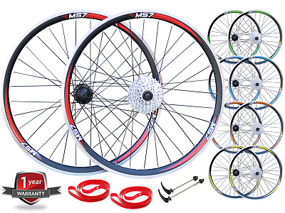 "QR 27.5"" 650B MTB Bike Front Rear 8/9/10 Speed Wheel Set V Rim Disc Brake"