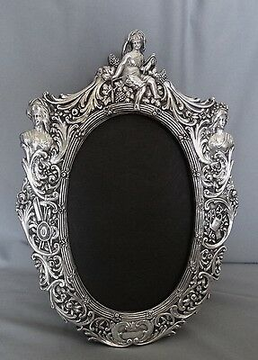 "Sterling Silver Picture Frame Ornate French Style 12 3/4"" Jr Sterling Post 1940"