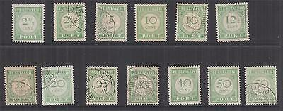 CURACAO, Postage Due, 1915-1919 selection, all values, various perfs. (13)