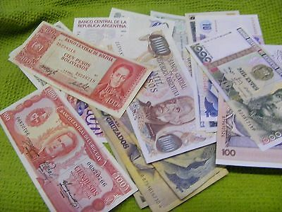 South America...Lot of  16 Mostly uncirculated /few used....Banknotes.