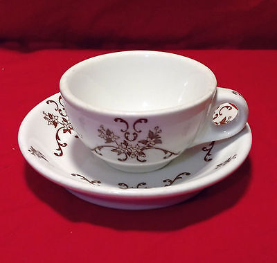 Vtg. Iroquois China P.R. B-1 restaurant ware brown floral pattern cup & saucer
