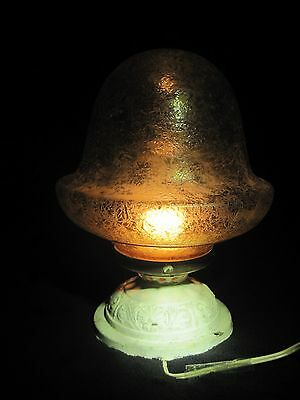Antique Frosted Glass Porch Acorn Light Fixture Vintage Art Deco Flush Mount
