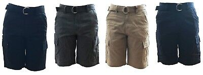 New Revolution Men's Cargo Shorts with Belt Casual Short 100% Cotton Size 30-40
