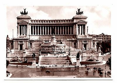 Rome Italy Postcard Monument to Victor Emannuel II Statues Black White Vintage