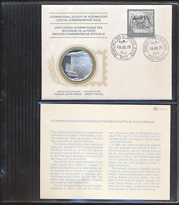 Brazil: 1977 Railway Centennial  Large Proof Silver Medal PNC (Weight 20g 38mm)