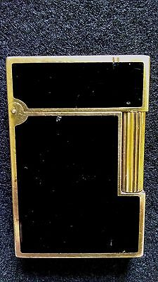 Vintage S T Dupont Lighter - Black Chinese Lacquer with Gold Plated Trim