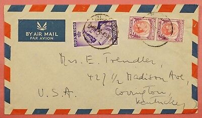 1948 Malaya Singapore Tri Franked Airmail Cover To Usa