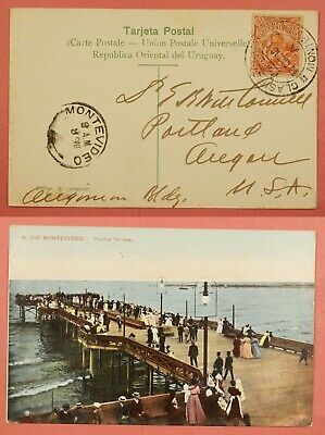 Uruguay 1910 Pier Dock Scene Postcard Montevideo Cancel To Usa