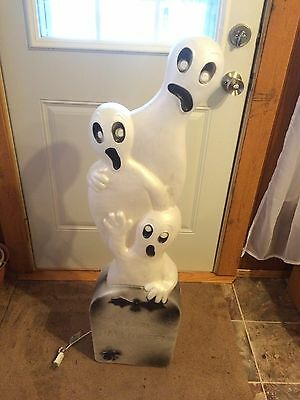 Vintage 3 Ghost Tombstone 41 Inches Blow Mold Holiday Halloween Yard Decor