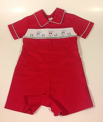 Vintage House of Hatten Smocked Dalmations Boy's Red One Piece Shorts Suit Dogs