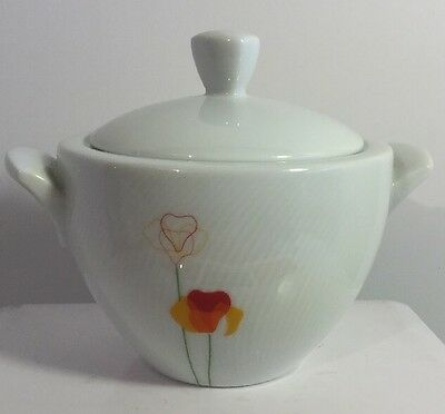 "Vista Alegre ""POPPY"" Papoilas Sugar Bowl w/ Lid White Porcelain Made in Portugal"