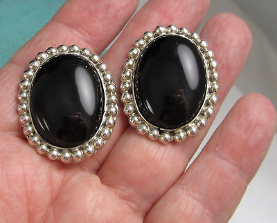 Estate Vintage Stunning Huge Sterling Silver Black Onyx MEXICO Pierced Earrings