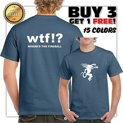 New funny Men's WTF Fireball Whiskey T-Shirt Black Size S-3XL 2 sided printing
