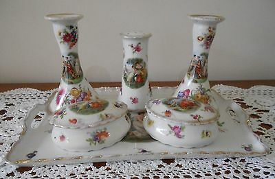 Victoria China Czechoslovakia 8 Pce Dressing Table Set With Hat Pin Holder C1910