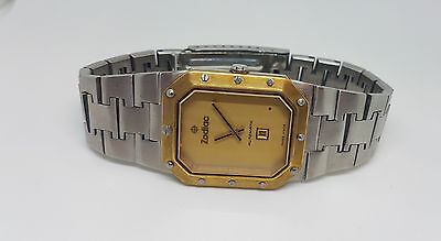 Rare Used Vintage Zodiac Solid Gold Bezel Date Automatic Man's Watch