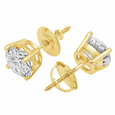 1.5 ct Round Cut Solitaire Stud Earrings Solid 14k Real Yellow Gold Screw Back