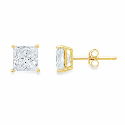 4.0 ct Princess Cut Solitaire Stud Earrings Solid 14k Yellow Gold Push Back